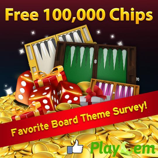 Vote and Win 100,000 Chips in PlayGem Social Backgammon