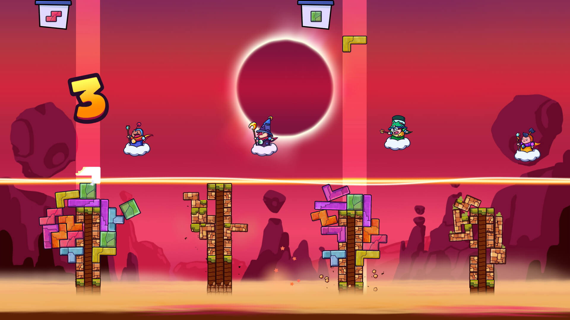 Tricky Towers is a good example of a stacking game