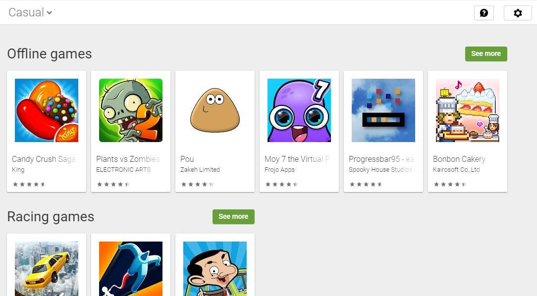 Casual games on the Google Play Store