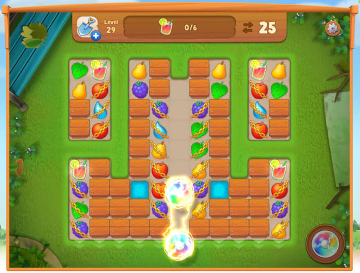 Combining power-ups in Gardenscapes: New Acres