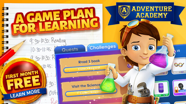 Get Your First Month FREE with Adventure Academy!ge