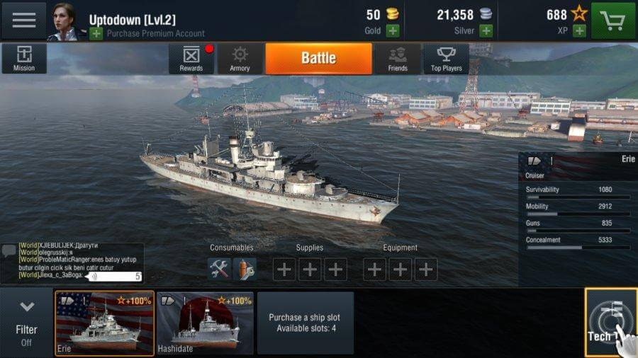 Starting ships in World of Warships Blitz