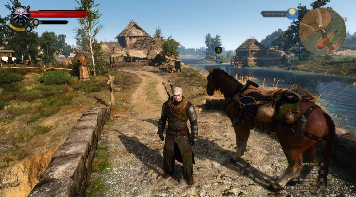 Roach and Geralt in The Witcher III