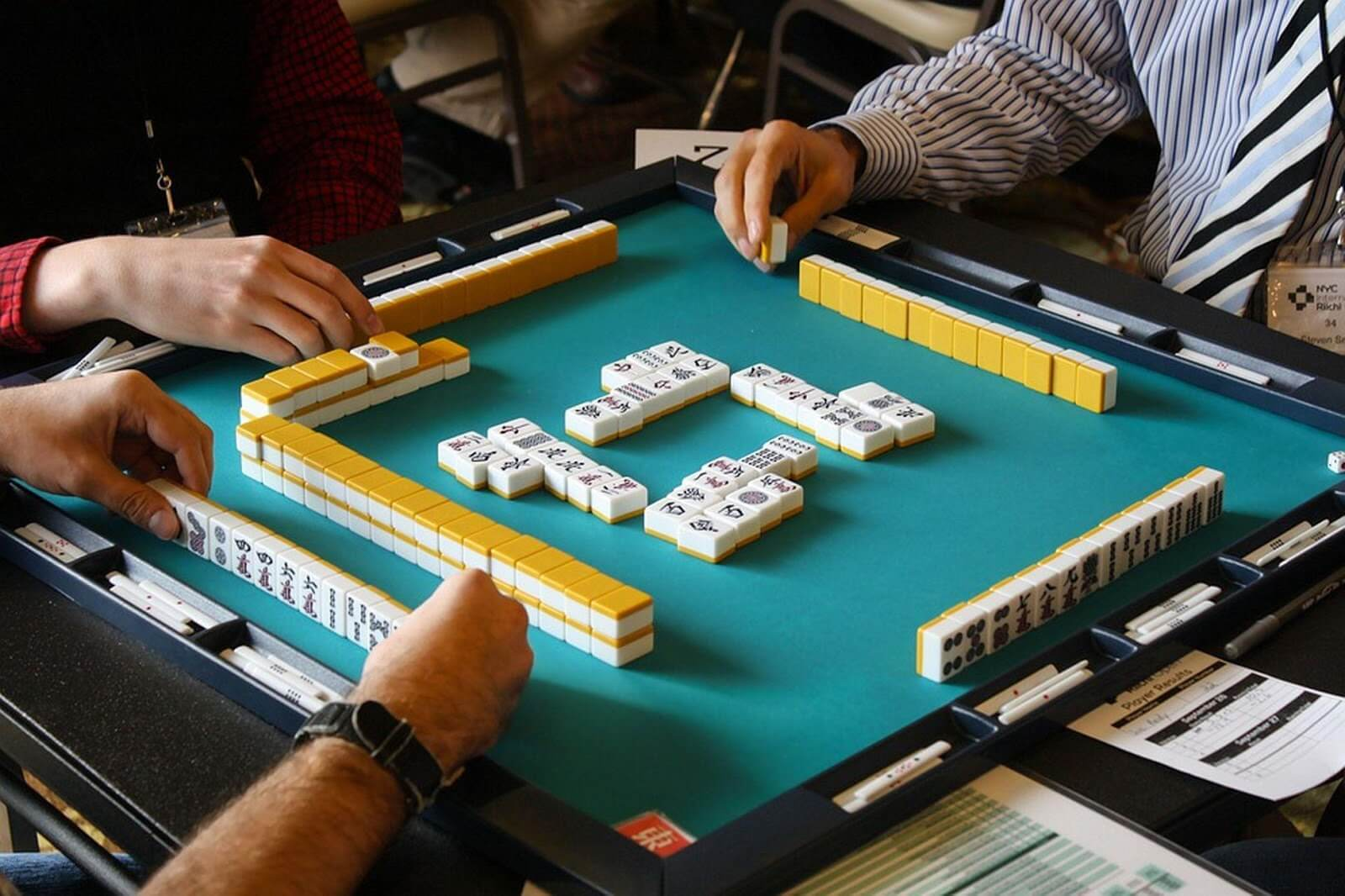 Playing mahjong with friends