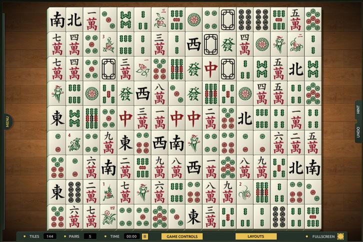 The Great Wall layout in TheMahjong.com