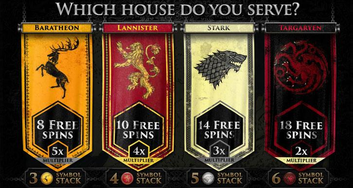 Game of Thrones Slot - House-based Free Spins