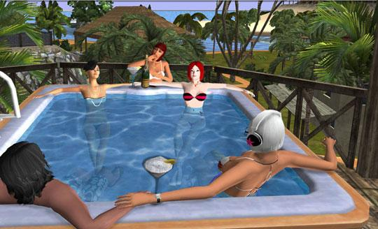 Relaxing in a pool with friends in Twinity