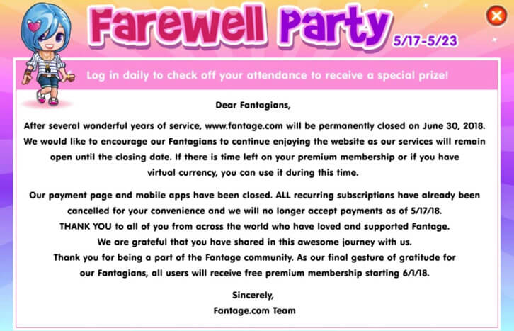 Fantage's shutdown notice