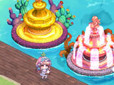 Mandrake Town: Collecting materials from fountains