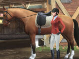 In front of stables in Equestriad World Tour