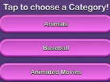 Selecting a category in Trivia Star