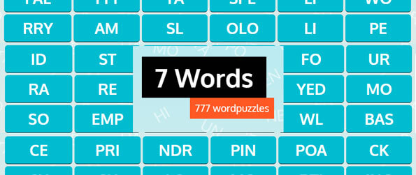 7 Words - Combine two or more word segments to form the correct words!