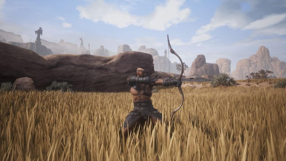 Using a bow and arrow Conan Exiles