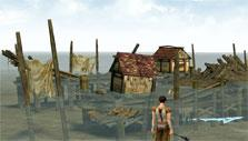 A destroyed fishing village in Lineage II