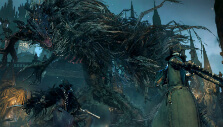 Fighting a boss with another player in Bloodborne