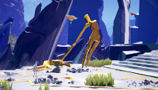 Standing in front of a statue in Planet Alpha