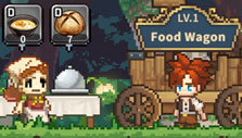 Selling food from a food wagon in Cooking Quest