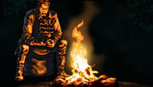 Resting by the fire pit in Operencia: The Stolen Sun