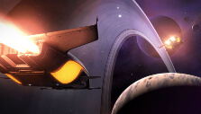 Passing a ringed planet in Elite Dangerous