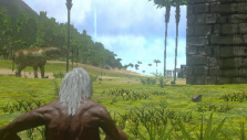 Approaching a large fortress in Ark: Survival Evolved