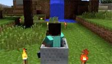 Riding a minecart in Minecraft