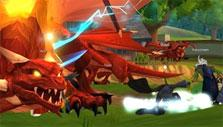 Fighting a dragon in AdventureQuest 3D